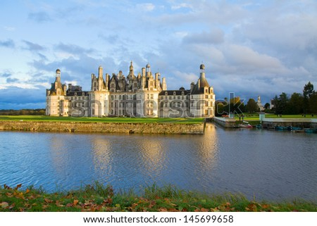 Chambord chateau at sunset, Pays-de-la-Loire, France - stock photo