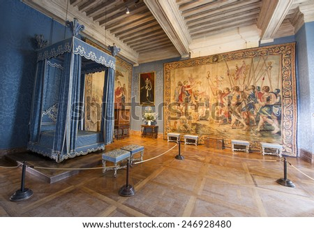 CHAMBORD, FRANCE - SEPTEMBER 25, 2011: Chambord castle interior room. The castle is located in the Loire Valley, built in the 16th century and is one of the most recognizable chateaux in the world.  - stock photo