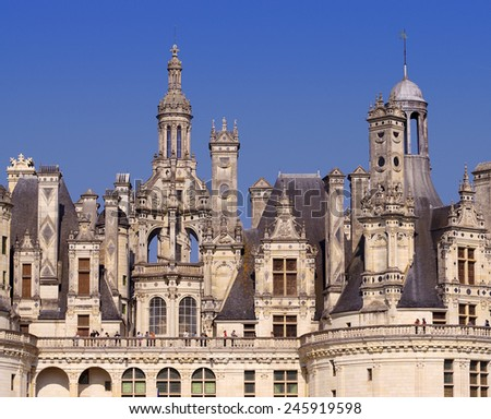 CHAMBORD, FRANCE - SEPTEMBER 25, 2011: view of the royal castle of Chambord, France. Built in the 16th century it is one of the most recognizable castles in the world.  - stock photo