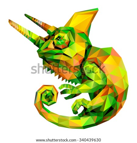 Chameleon geometric (illustration of a many triangles) - stock photo