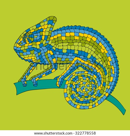 Chameleon sitting on a branch. abstract illustrations multicolored mosaic chameleon, lizards, reptiles with small scales painted by hand, pencil, pen. - stock photo