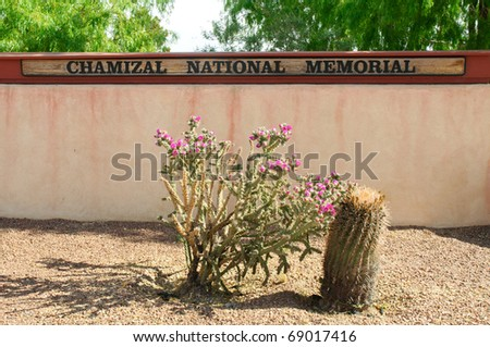 Chamizal National Memorial sign and cacti - stock photo