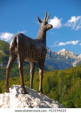 Chamois statue, Slovenia - stock photo