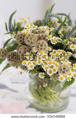 Chamomile bouquet in a glass vase  - stock photo