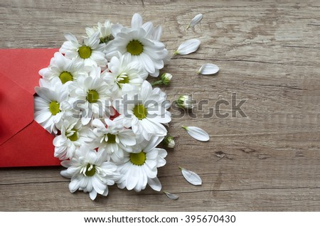 Chamomile flowers in red envelope on a wooden background.Spring flowers.March 8th, mother's day, valentine's day, International Women's Day. Letter love.Top view. Greeting card with beautiful flowers. - stock photo