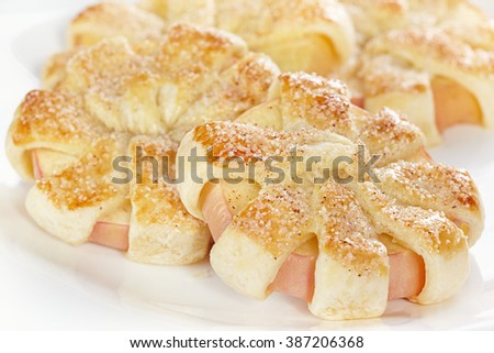 Chamomile from apple and puff pastry - stock photo
