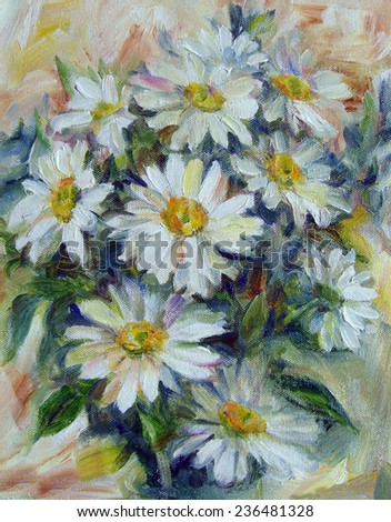 chamomile. oil Paintings - stock photo