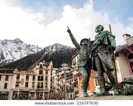 CHAMONIX, FRANCE APRIL 19: Monument of Saussure and Balmat at Chamonix Mont Blanc on April 19, 2012. Chamonix was the site of the 1924 Winter Olympics, the first Winter Olympics. - stock photo