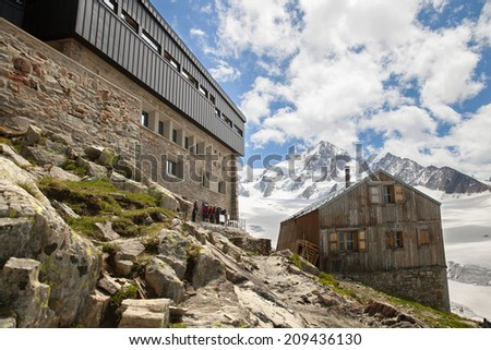 Chamonix, France - JUNE 06, 2014: Albert Premier Hut. The main hut (built in 1959) can hold 137 people and the older hut, for winter use, can hold 30 people. - stock photo