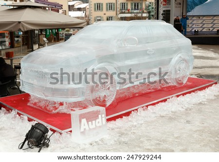 Chamonix,France - 22nd January 2015: Audi Q3 car ice sculpture - full size.  An ice version of the newly launched Audi Q3 4x4 SUV/car was the centrepiece of the Audi stand at a skiing event.