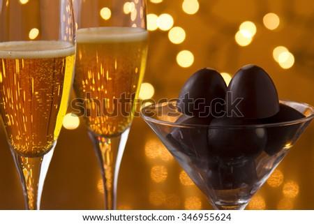 Champagne and Chocolate - stock photo