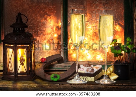 Champagne and chocolates on New Year's Eve, New Year