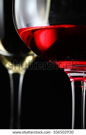 Champagne and cocktail in isolate black - stock photo