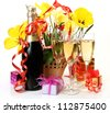 Champagne and flowers - stock photo