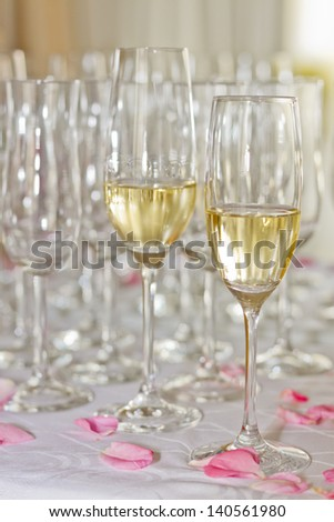 champagne and glasses at celebrations