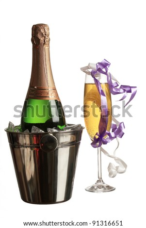 Champagne and new year - stock photo