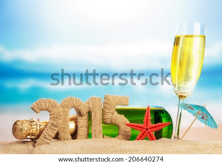 Champagne and New year sign - stock photo