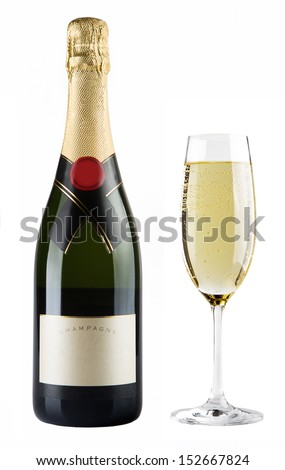 Champagne bottle and champagne glass - stock photo