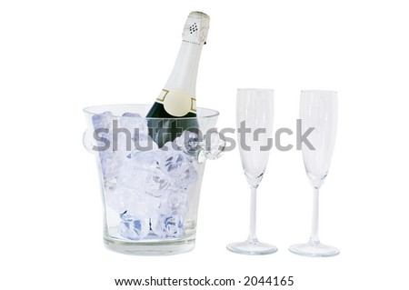 champagne bottle and glass isolated on white, clipping path included - stock photo