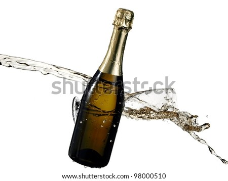 Champagne bottle and glass splash