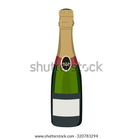 Champagne bottle, champagne bottle isolated, champagne raster - stock photo