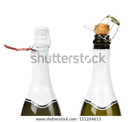 Champagne bottle closed and opened muzzle