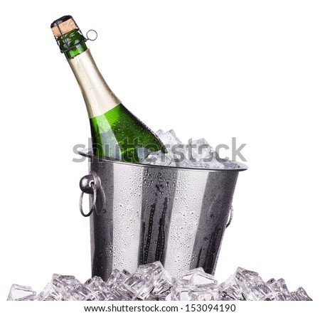 Champagne bottle in a bucket with ice on the white