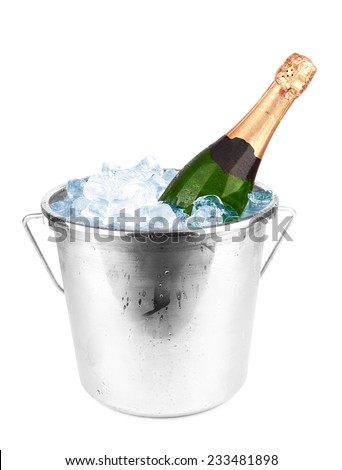 Champagne bottle in a bucket with ice on white background