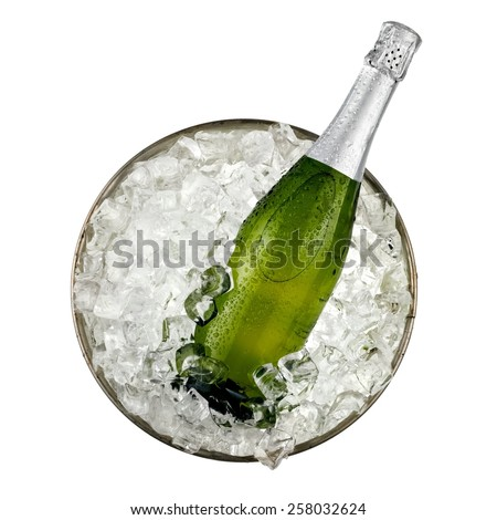 Champagne bottle in a bucket with ice, top view - stock photo
