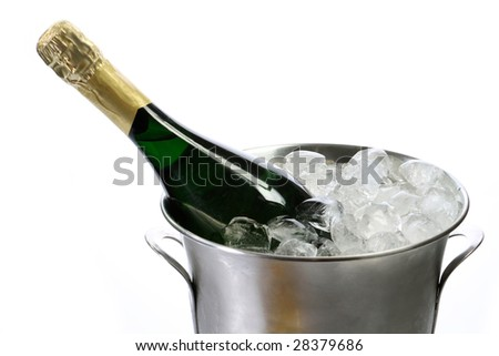 Champagne bottle in a cooler with ice on white background