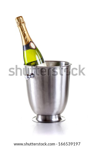 champagne bottle  in cooler, on white background