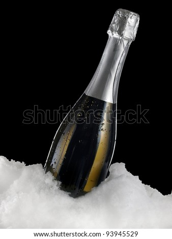 Champagne bottle in snow