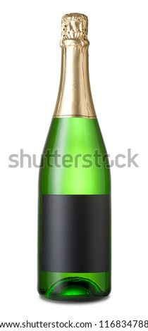 Champagne bottle isolated on a white background - stock photo