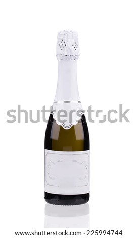 Champagne bottle. Isolated on a white background. - stock photo