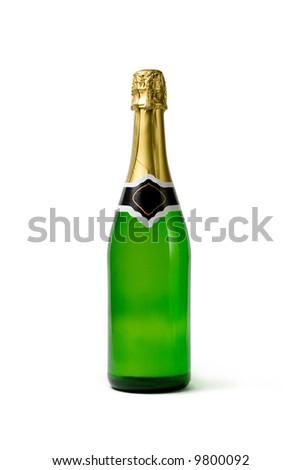 Champagne bottle. Isolated on white - stock photo