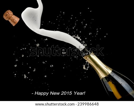 Champagne bottle popping, Happy New 2015 Year - stock photo