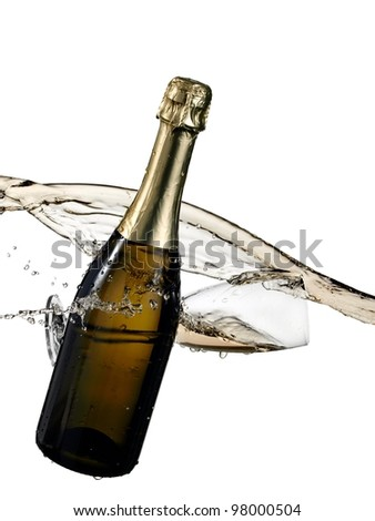 Champagne bottle with a glass splash