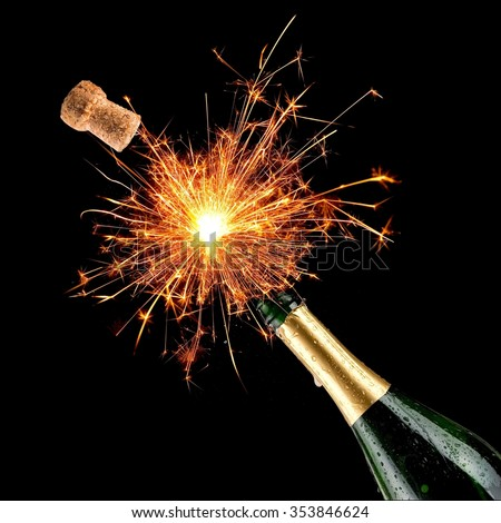 Champagne bottle with bengal fire popping - stock photo
