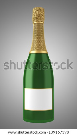champagne bottle with blank label isolated on gray background