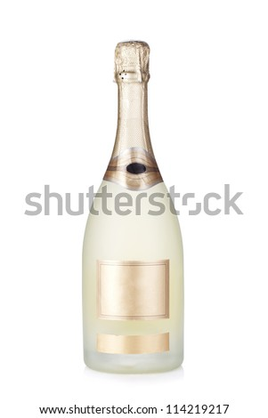 Champagne brut bottle. Isolated on white background