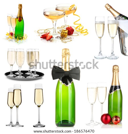Champagne collage isolated on white - stock photo