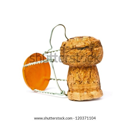 Champagne cork close up on the white - stock photo