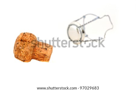 Champagne cork in front of a white background