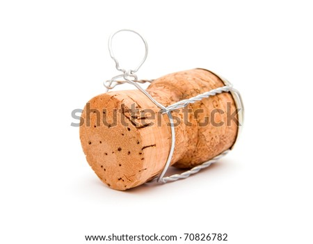Champagne cork isolated on white background - stock photo