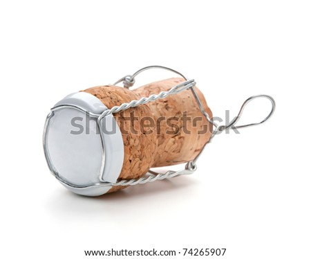 Champagne cork. Isolated on white background