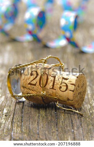 champagne cork marked with year 2015 - stock photo