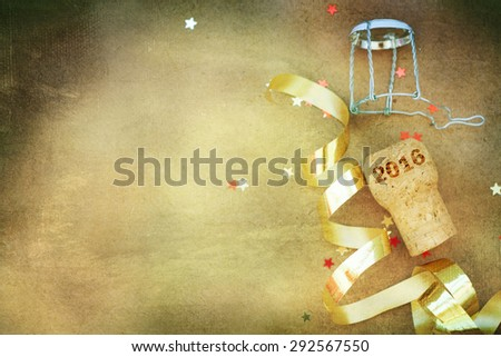 Champagne cork new year  - stock photo