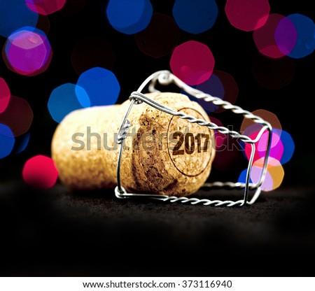 Champagne cork / New Year 2017 Champagne Cork - stock photo