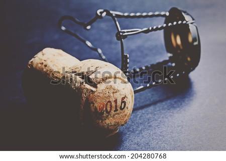 Champagne cork new year 2015. Macro image. - stock photo