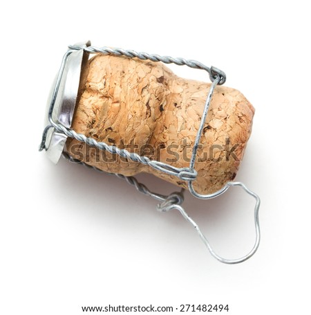 Champagne Cork on white background - stock photo